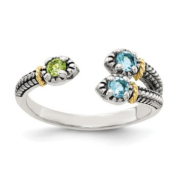 Sterling Silver w/ 14K Accent Light Swiss Blue Topaz & Peridot Ring