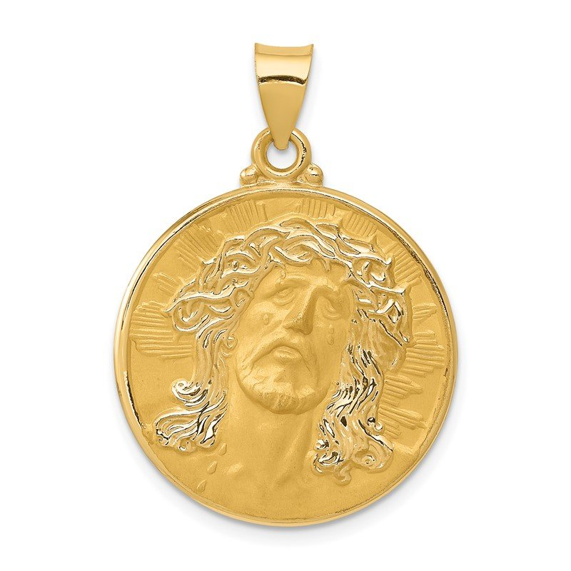 Quality Gold 14k Head of Christ Medal Hollow Round Pendant