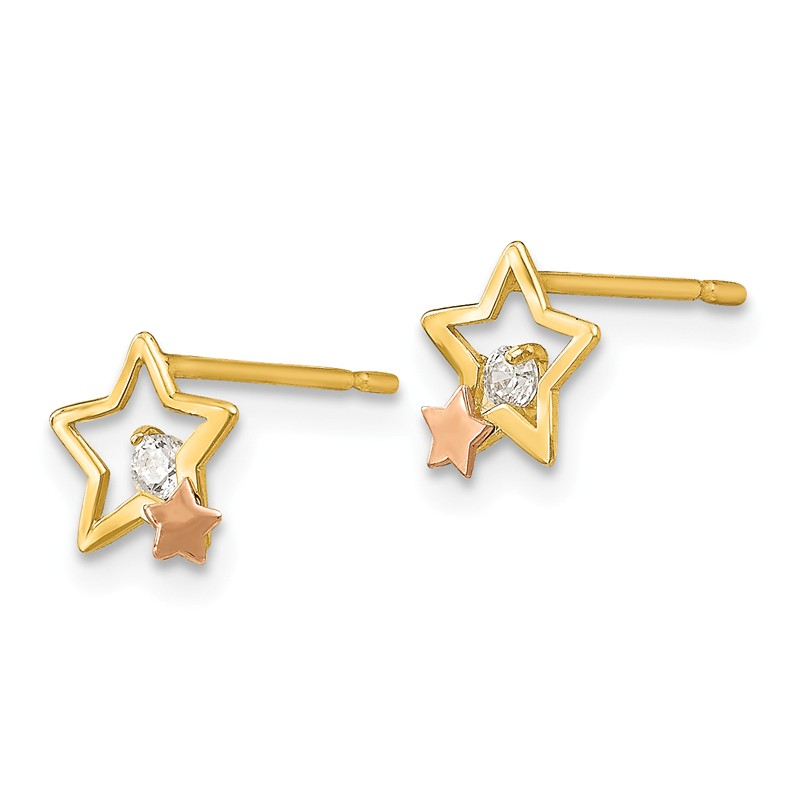 14K Madi K CZ Childrens Cross Post Earrings