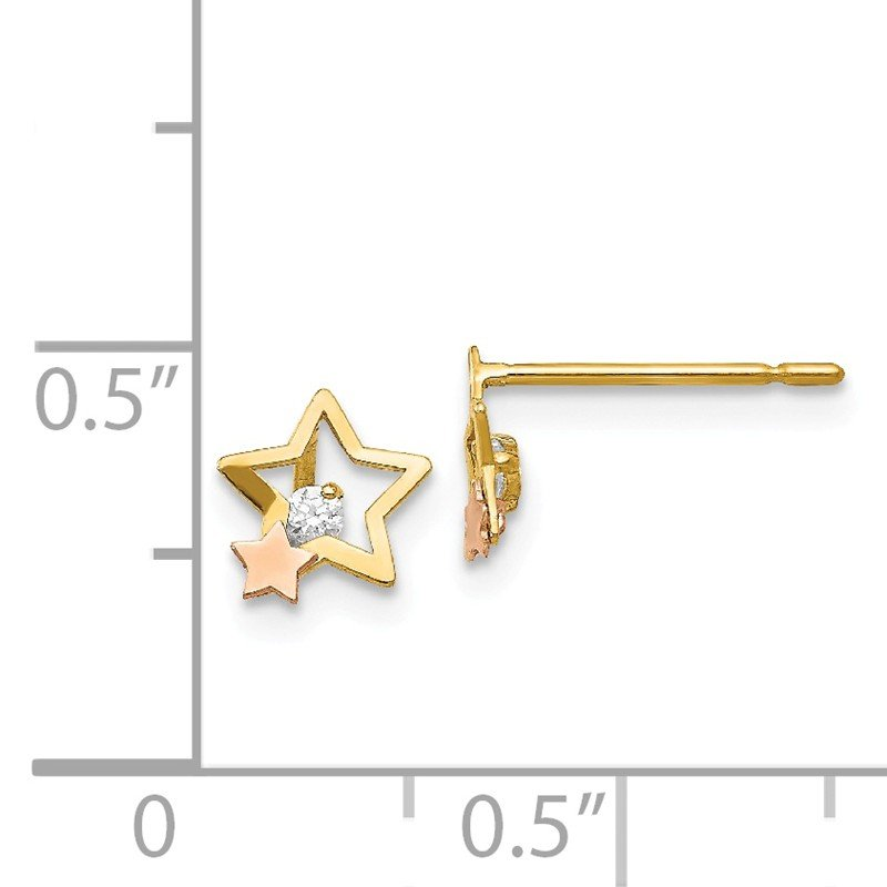 Quality Gold 14k Yellow & Rose Gold Madi K CZ Children's Star Post Earrings