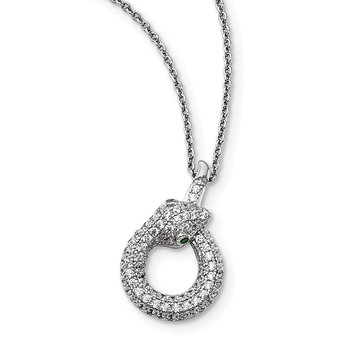 Sterling Silver Brilliant Embers Rhodium-plated CZ Snake Necklace
