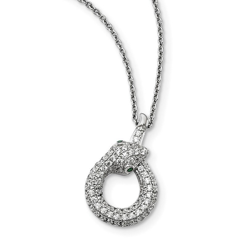Arizona Diamond Center Collection Sterling Silver & CZ Brilliant Embers Snake Necklace