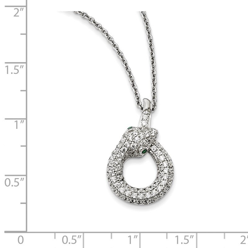 Quality Gold Sterling Silver & CZ Brilliant Embers Snake Necklace