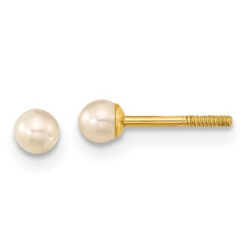 14k Madi K 3mm Button FW Cultured Pearl Screwback Earrings