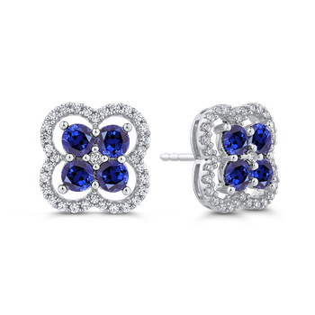 3/8 ct Diamond with 2.32 ct Sapphire Stud Earring