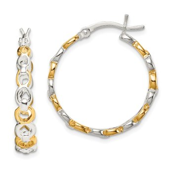 Sterling Silver Flash Gold-plated Hoop Earrings