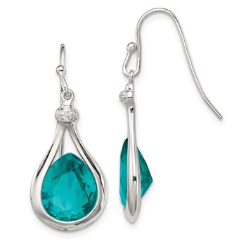 Sterling Silver with Green Glass and CZ Shepherd Hook Earrings