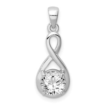 Sterling Silver Rhodium-plated 6.5mm CZ Teardrop Pendant