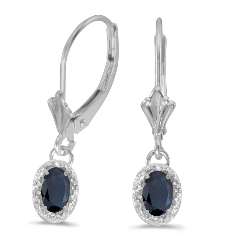 10k White Gold Oval Sapphire And Diamond Leverback Earrings
