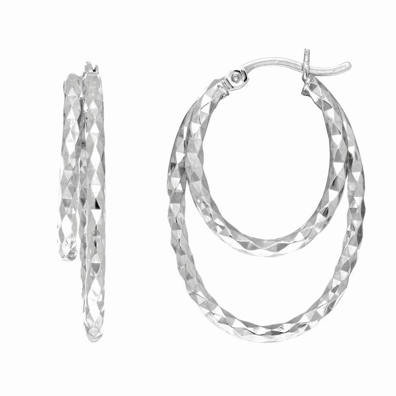 Royal Chain Silver Double Diamond Cut Hoop Earring