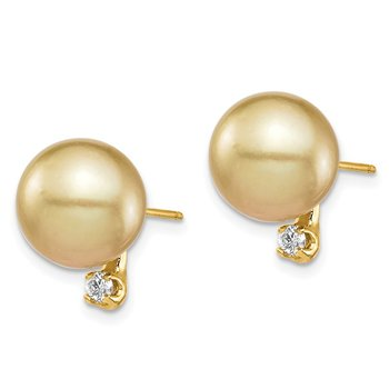 14K 9-10mm Golden Saltwater Cultured South Sea Pearl .10ct Dia Earrings