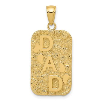 14K DAD Gold Nugget Dog Tag Pendant