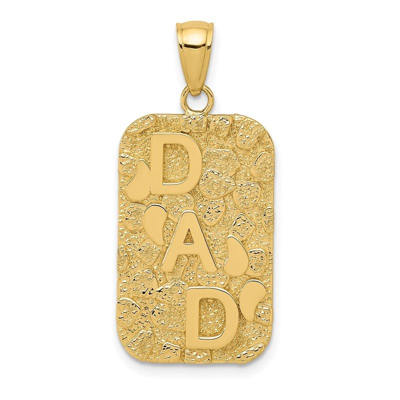 Quality Gold 14K DAD Gold Nugget Dog Tag Pendant