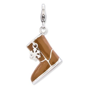 Sterling Silver Enameled 3-D Snow Boot w/Lobster Clasp Charm