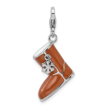 Sterling Silver RH Enameled 3-D Snow Boot w/Lobster Clasp Charm
