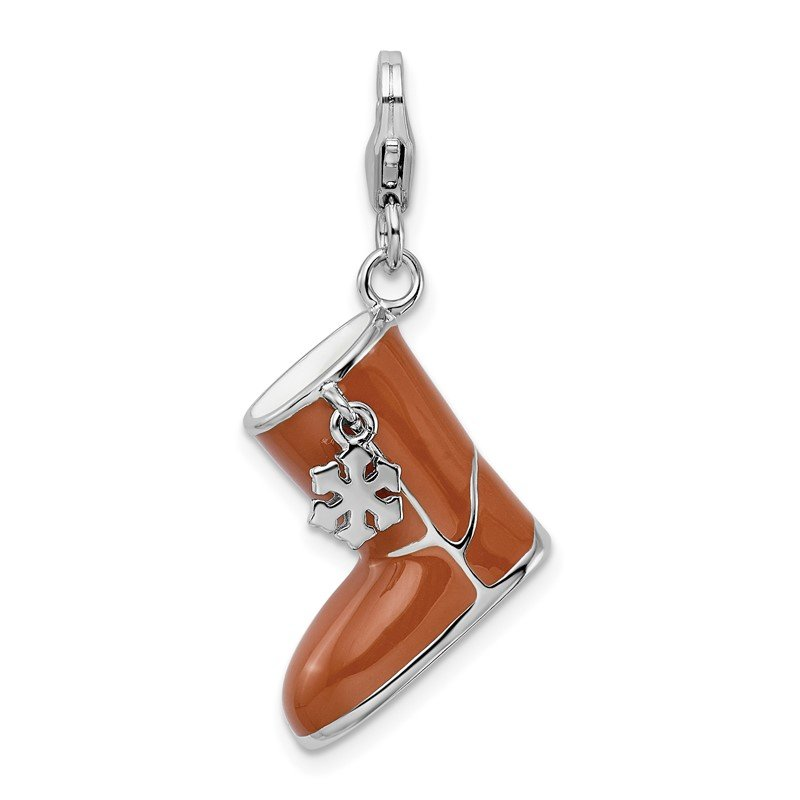 Quality Gold Sterling Silver Amore La Vita Rhodium-pl Enameled 3-D Snow Boot Charm