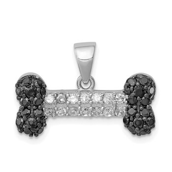 Sterling Silver Rhodium-plated Black & Clear CZ Dog Bone Pendant