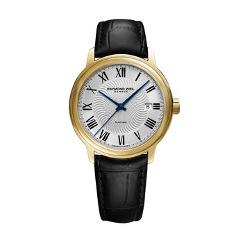 Men's Automatic Date Watch, 39mm steel on leather strap, silver dial, yellow gold PVD plated