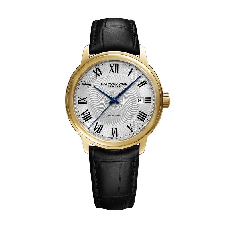 Raymond Weil Men's Automatic Date Watch, 39mm steel on leather strap, silver dial, yellow gold PVD plated