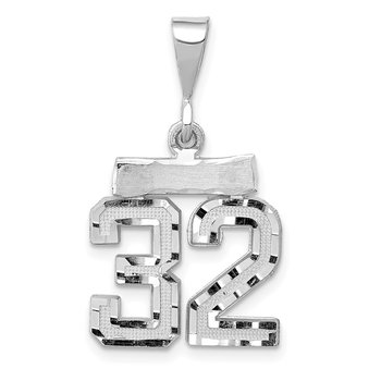 14k White Gold Small Diamond-cut Number 32 Charm