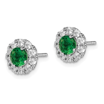 Sterling Silver Rhodium-plated Green Glass and CZ Halo Post Earrings
