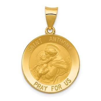 14k Saint Anthony Medal Hollow Pendant