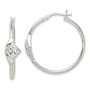 Sterling Silver CZ Polished Hoop Earrings
