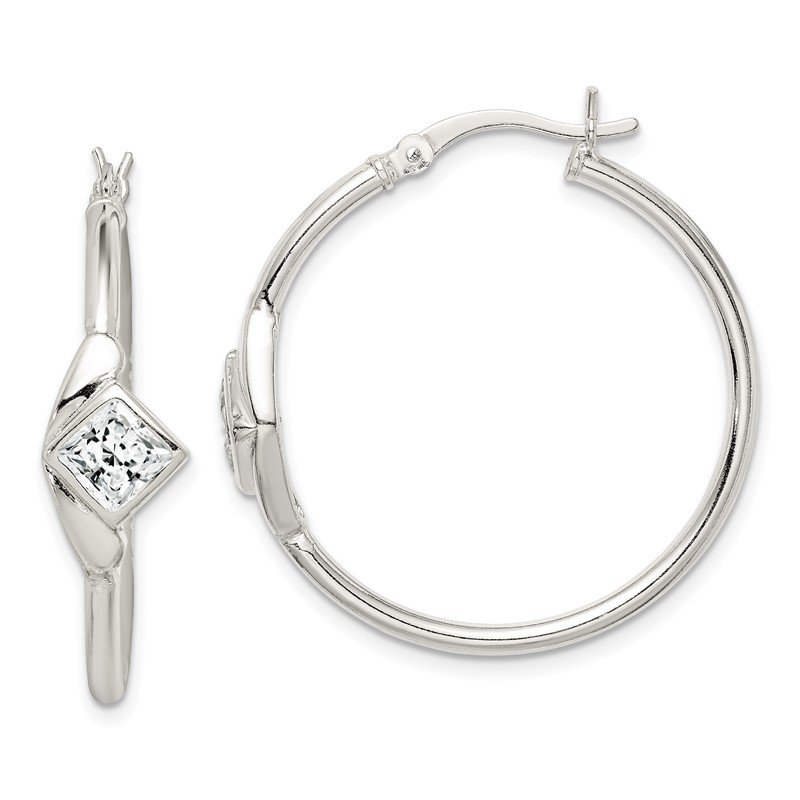 Quality Gold Sterling Silver CZ Polished Hoop Earrings
