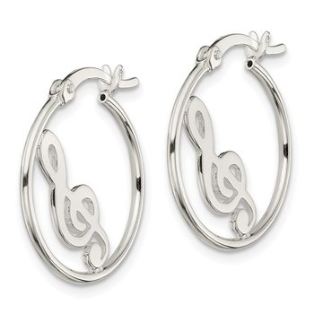 Sterling Silver Polished Music Note Hoop Earrings