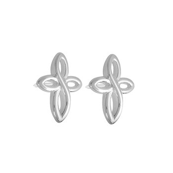 Cross Stud Earrings - Brt SS