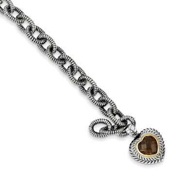 Sterling Silver w/14k Smoky Quartz Heart Bracelet