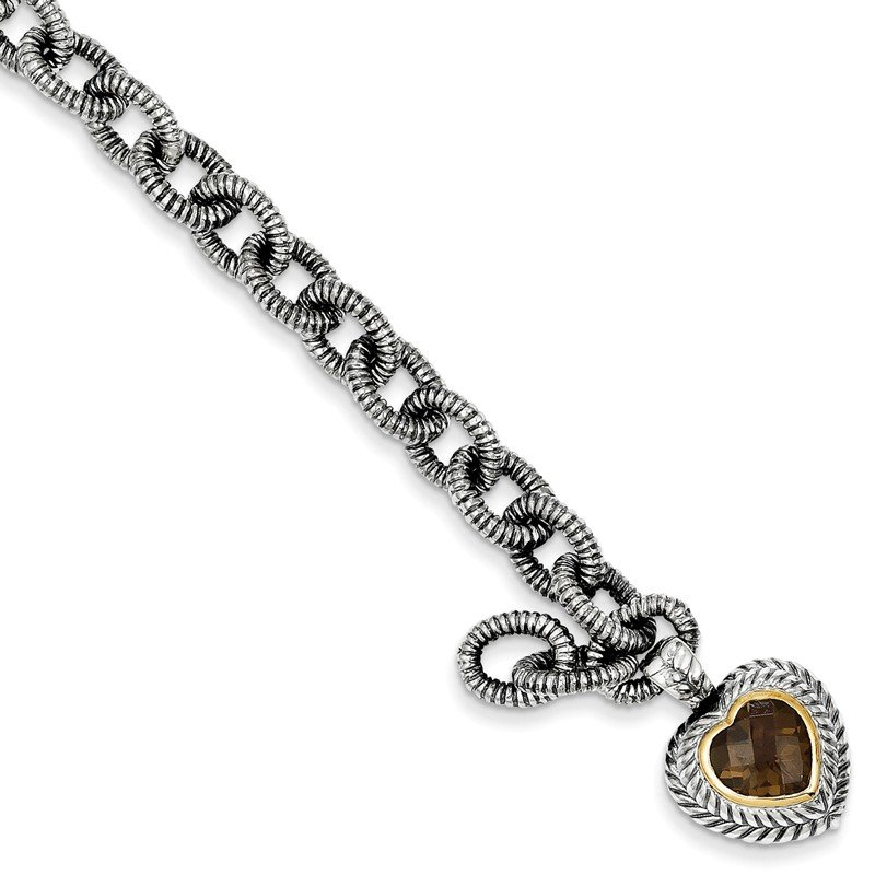 Shey Couture Sterling Silver w/14k Smoky Quartz Heart Bracelet