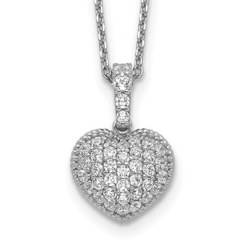 Sterling Silver CZ Heart 16in w/2in ext. Necklace