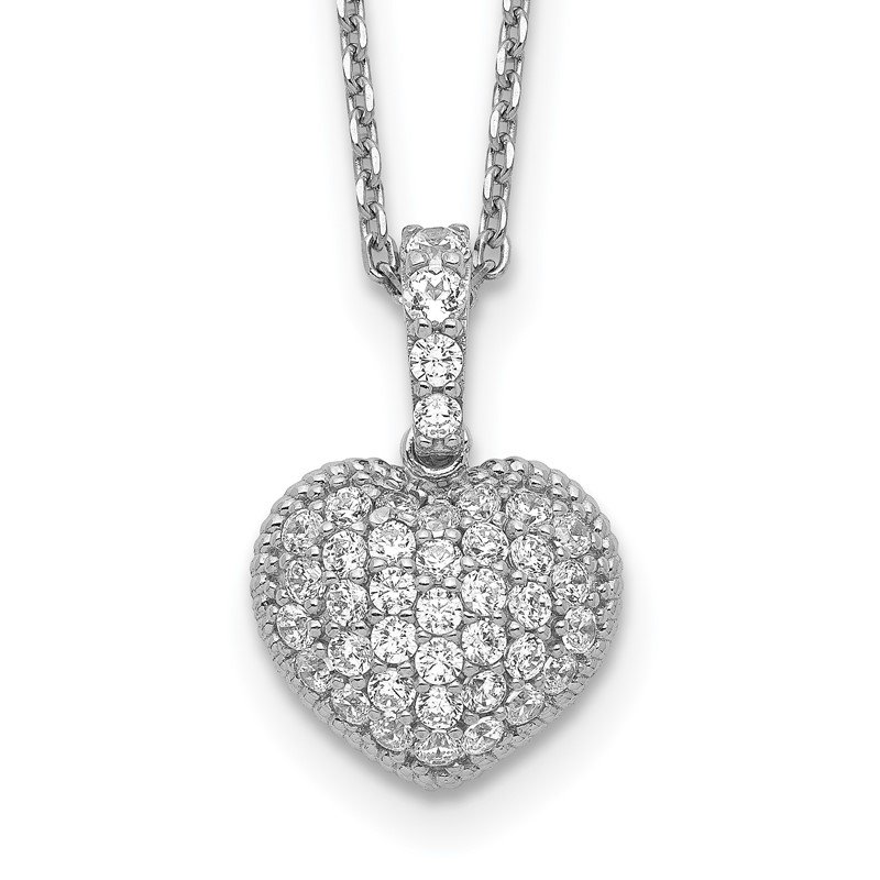 Fine Jewelry by JBD Sterling Silver CZ Heart 16in w/2in ext. Necklace