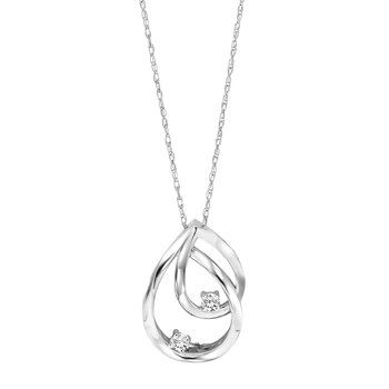 Silver Diamond Two Stone Pendant 1/20 ctw