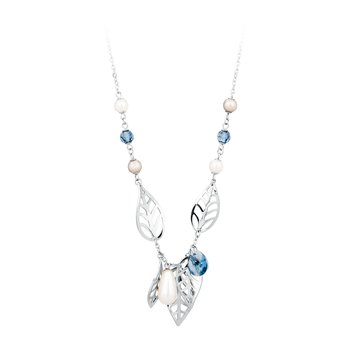 316L stainless steel, Swarovski® Elements pearls and denim blue crystals