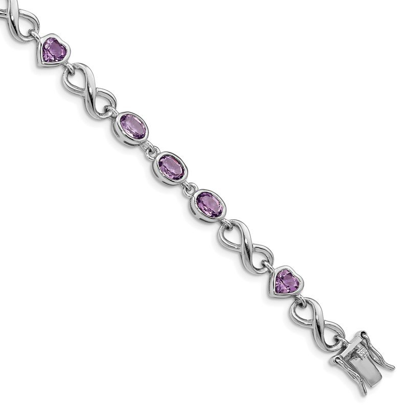 Quality Gold Sterling Silver Rhodium-plated Oval Heart Amethyst Bracelet