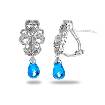 14K WG Topaz and Diamond Fashion Earring