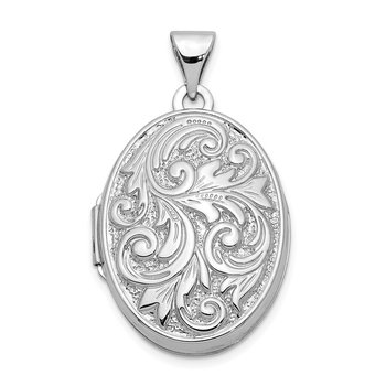 14k White Gold Polished Reversible Love You Always Oval Locket