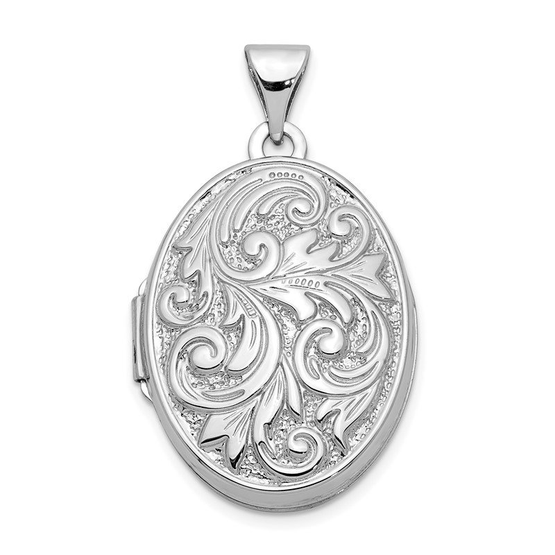 J.F. Kruse Signature Collection 14k White Gold Polished Reversible Love You Always Oval Locket