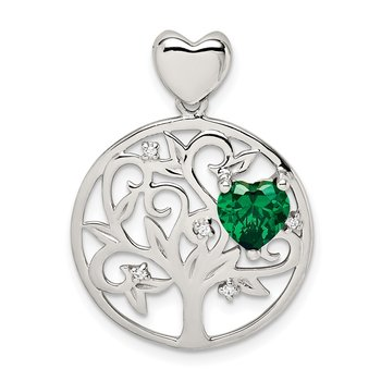 Sterling Silver Green & Clear CZ Tree Chain Slide