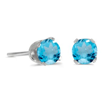 14k White Gold 4 mm Round Blue Topaz Stud Earrings