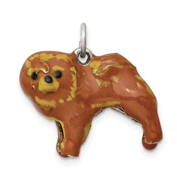 Sterling Silver Enameled Chow Dog Charm