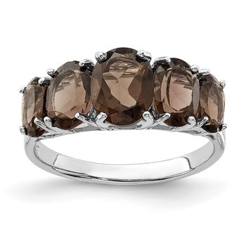 Sterling Silver Rhodium Smoky Quartz Ring