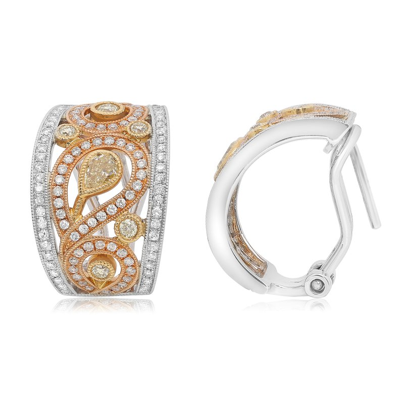 Roman & Jules Tri-Colored Paisley Diamond Earrings