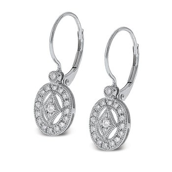 Diamond Oval Earrings in 14k White Gold with 36 Diamonds weighing .22ct tw.