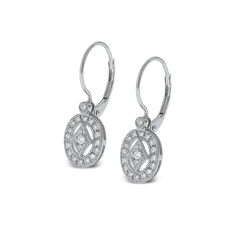 MAZZARESE Fashion Diamond Oval Earrings in 14k White Gold with 36 Diamonds weighing .22ct tw.