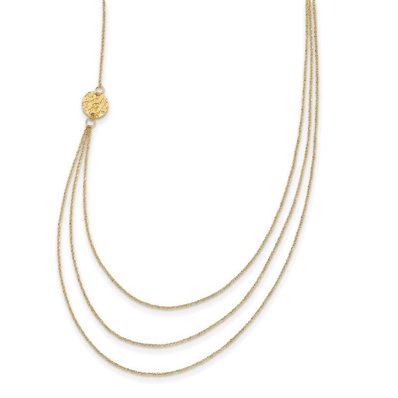 Lester Martin Online Collection 14K 3 Layer Ropa Chain Texture Side Circles W/ 2in Ext Necklace