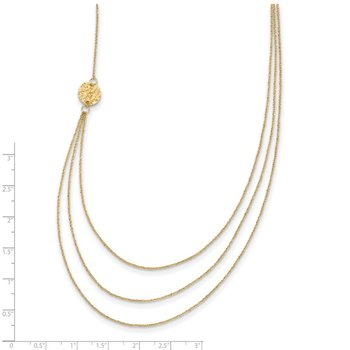 14K 3 Layer Ropa Chain Texture Side Circles W/ 2in Ext Necklace