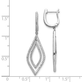 14k White Gold Diamond Teardrop Hinged Dangle Earrings